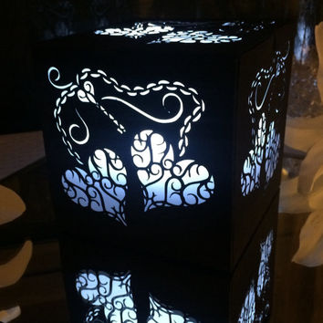 black key to my heart wedding lantern luminary centerpice decoration walkway decor lights assembled