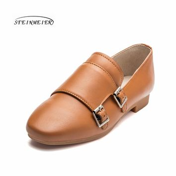 Women oxford spring buckle single leather shoes British 100% cowhide flat soft cas shoes vintage retro small leather shoes