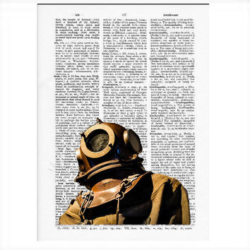Vintage Dictionary Paper - Deep Sea Diver Dictionary Art Print