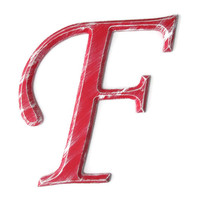 Decorative Letter F hand painted wood in bright red with white distressed finish, rustic shabby cottage chic style