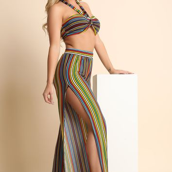 Striped Multi-Tie Bandeau Top with Side Slit Palazzo Pants Set