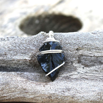 Black Arrowhead Necklace - Festival Jewelry - Obsidian Jewelry - Obsidian Arrowhead Jewelry - Bohemian Necklace Wire Wrapped Stone Necklace