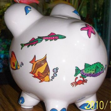 Colorful fish ceramic piggy bank by MoanasUniqueDesigns on Etsy