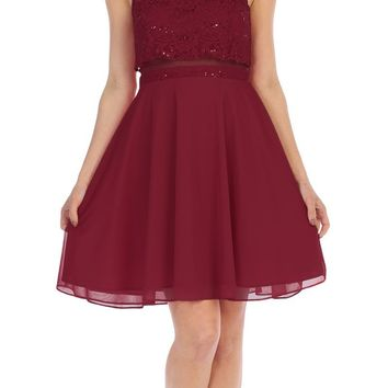 Beaded Neckline Halter Short Party Dress Burgundy
