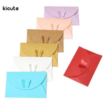 5Pcs/set Vintage Butterfly Small Colored Pearl Blank Mini Paper Envelopes Wedding Party Invitation Envelope DIY Gilt Envelope