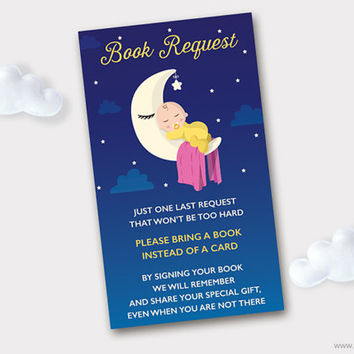I Love you to the Moon and back Baby Shower Book Request, Printable Baby Shower Request Book Card, Bring a Book Instead of a Card Insert