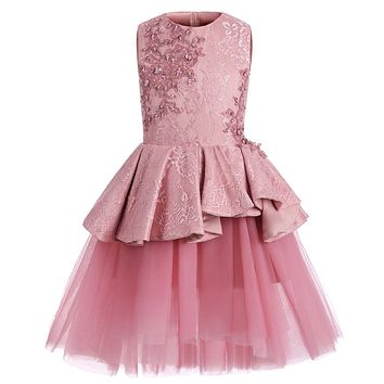 Abaowedding Short Blush Children Little Girls Pageant Interview Suits Pink Puffy Girls Prom Dress Kids Tulle Kids Evening Gowns