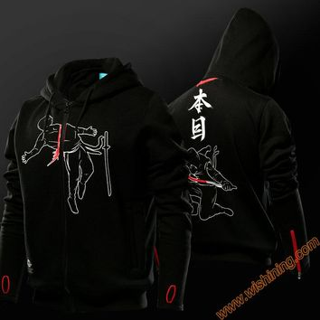 Wishining 2017 Hattori Hanzo Hoodies Mens Boys 3xl Sweat Shirt Black Full Zip Cosplay Hoodie
