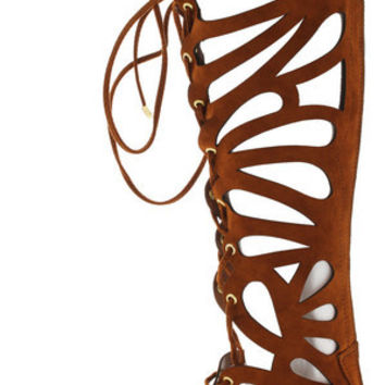 SOLO15W TAN LASER CUT OUT LACE UP BOOT