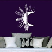 Wall Decals Vinyl Sticker Decal Art Home Decor Moon Arrows Feathers Night Symbol Crescent Bedroom (6030)