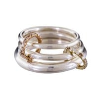 Silver Gold and Diamond Triple Pavo Ring