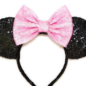 Black Sequin Ears and Baby Pink Bow