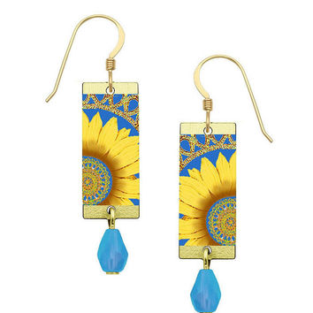 Lemon Tree Colorful Yellow Sunflower Earrings with Gold Filled Ear Wires