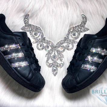 Adidas Superstar Womens Shoes Black With Black Stripes Customized with  Swarovski® Crystals Brand New in f50ae67f03dc