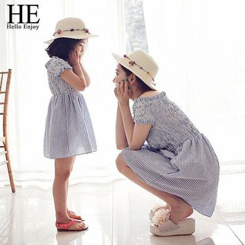 CREYL HE Hello Enjoy mother daughter dresses 2016 Family Matching Outfits striped dress family clothing mother and daughter clothes