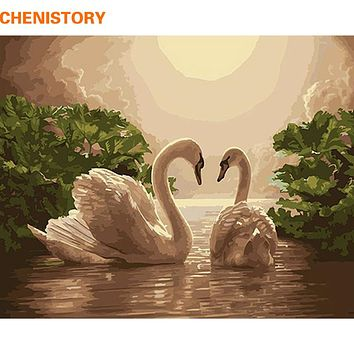CHENISTORY Swan Lover Animal DIY Painting By Numbers Acrylic Paint On Canvas Kit Drawing Paint By Numbers Wedding Decoration