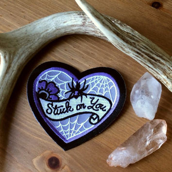 """STUCK ON YOU - 3.25"""" Embroidered Spider Heart Patch"""
