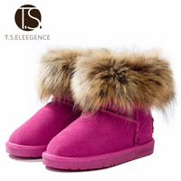 T.S. kids boots winter girls shoes Warm Ankle boots kids fur Snow Boots Toddler brown black rose EU Size28-38