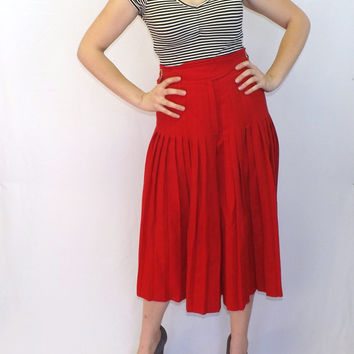 Vintage 60s 70s Escada Red Accordian Pleat Palazzo Gaucho Shorts Skirt Capris Wool Skirt Classic Preppy Mod Medium Sailor Nautical Couture
