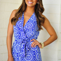 Circle My Heart Romper: Blue/White | Hope's