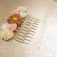 Handmade wedding hair comb clip resin flowers roses vintage cream peach brown wedding prom accessory hair piece bride