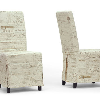 Picard French Script Beige Linen Modern Dining Chair Set of Two