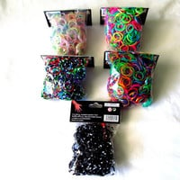 1000 Loom Band Refill 5 Diff. Colors 200 Bands Each + 48 Free Clips, Rainbow Loom Bands, Glitter Bands, Shimmer Bands, Zebra Polka Dot Bands