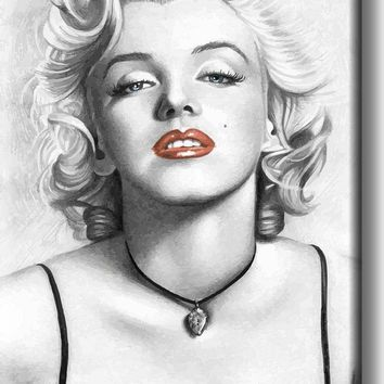Marilyn Monroe Red Lips Drawing Vintage Picture on Acrylic , Wall Art Décor, Ready to Hang