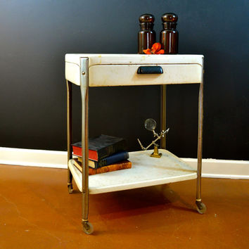 Vintage Metal Cart, Exam Cart, Vintage Enamel Cart, Medical Table, Medical Cart, Bar Cart, Rustic Charm