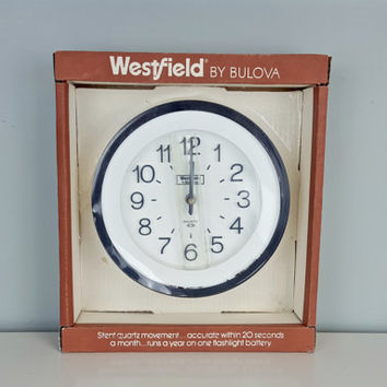 Vintage Westfield by Bulova Wall Clock, New Old Stock Bulova Clock, Vintage in Box Bulova Clock, Black White Wall Clock, Black White Decor