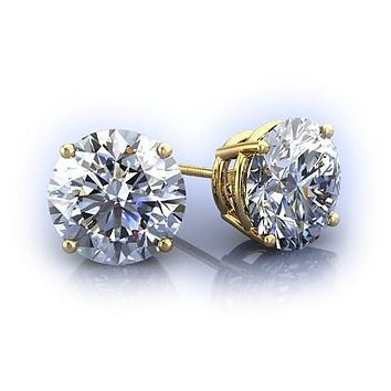 Flawless 14K Yellow Gold 4CT Round Cut Russian Lab Diamond Solitaire Earrings