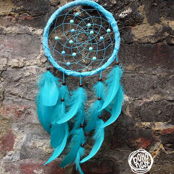 CHRISTMAS SALE! - Dream Catcher - Sweet Sea - With Stunning Turquoise Feathers, and Beads - Boho Home Decor, Nursery Mobile