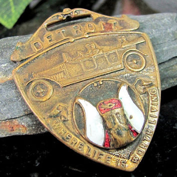 Vintage DETROIT MICHIGAN Watch Fob Vikings Automobile Enameled Antique