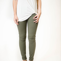 Olive Low Rise Skinny Jeans