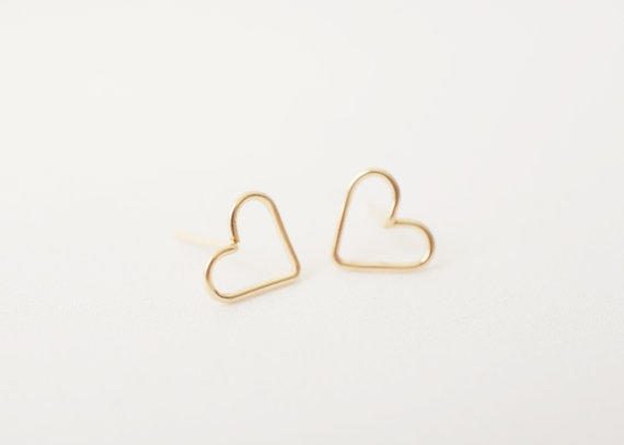 MADE BY MARU: Gold Heart Studs - 14k Gold Filled Earrings