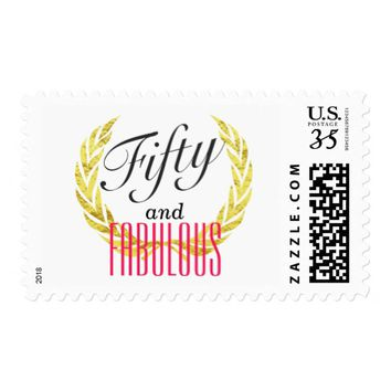 Fifty and Fabulous Gold Laurel Wreat 50th Birthday Postage