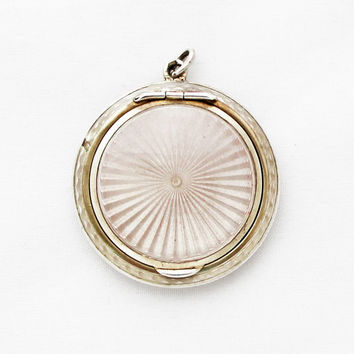 Antique French Sterling Silver Guiloche Enamel Locket / Powder Compact Pendant Medaillon