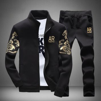 Casual Mens Fashion Tracksuits Sweatshirts Jackets+Pants