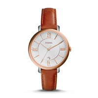 Jacqueline Three-Hand Date Leather Watch, Dark Brown