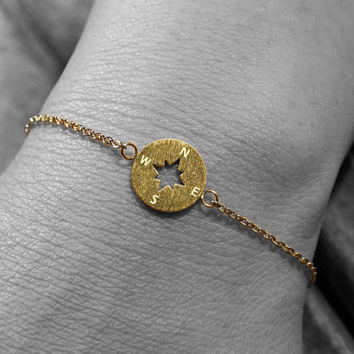 Gold Silver Rose gold plated brushed stainless steel compass round adjustable chain bracelet (BR00014)