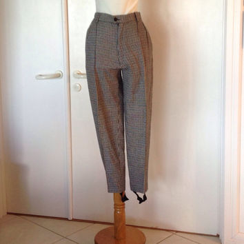 70s Wool Stirrup Pants / Black and White Herringbone Check Pants / Women's Winter Wool Pants  / Micmac St Tropez / extra small XS 25 waist