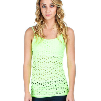 NEON GREEN TANK TOP WITH FLOWER OPENINGS AND BUILT IN BRA