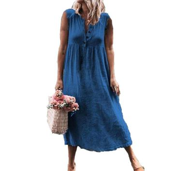 Summer Sleeveless Long Shirt Dress Casual Cotton and Linen Women V-neck Solid Color Sun Dress Ladies Plus Size Dress
