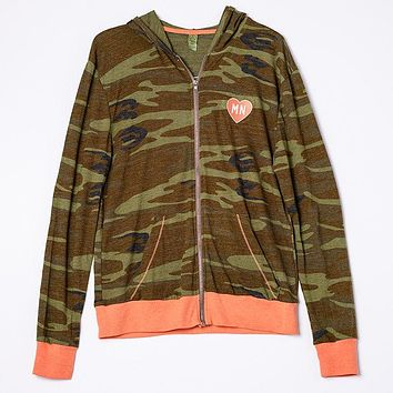 Embroidered Heart MN Camo Zip-Up Hoodie