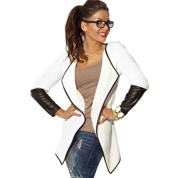 FANALA Jacket 2017 Women's Jacket Spring Autumn Cardigan Outerwear Full Sleeve Synthetic Leather Splicing Jackets Feminin Coat