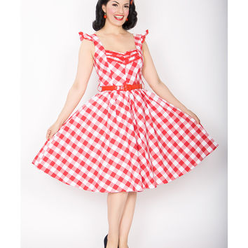 Bernie Dexter 50's Style Red Gingham Antonella Swing Dress - Unique Vintage - Prom dresses, retro dresses, retro swimsuits.