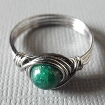 Lepidolite Ring, Green Stone Ring, Thumb Ring, Wire Wrapped Ring, Titanium Ring, Simple Ring, Ring for Boyfriend, Dark Green Ring, Homemade