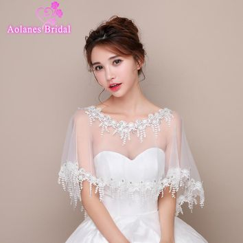 2017 New Off White Ivory Tulle Lace Crystal Bridal Wedding Bolero Jacket Sequins Appliques No Sleeves Wedding Shrug Cape Shawl