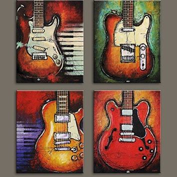 Music wall art Abstract guitar canvas prints art home decor for living room modern Still Life Pictures pictures 4 panel large posters HD printed painting Framed Ready to hang