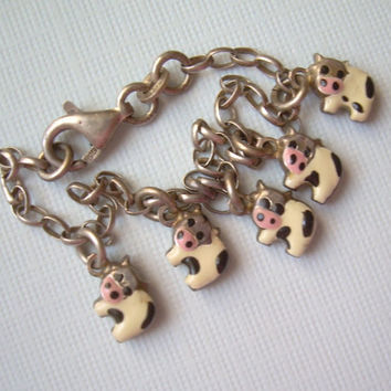 "6"" COWS Charm Bracelet-Vintage Sterling Silver & Black White Pink Enamel-Moo Dairy Farm Animal-Collectible Jewelry-Womens Teens Childs"
